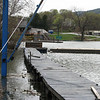 View of the waterfront at the marker, during a particularly high water event in April 2008. Lock 12 of the Champlain Barge canal can be seen to the left. The site of the building of the fleet is just out of frame to the right.