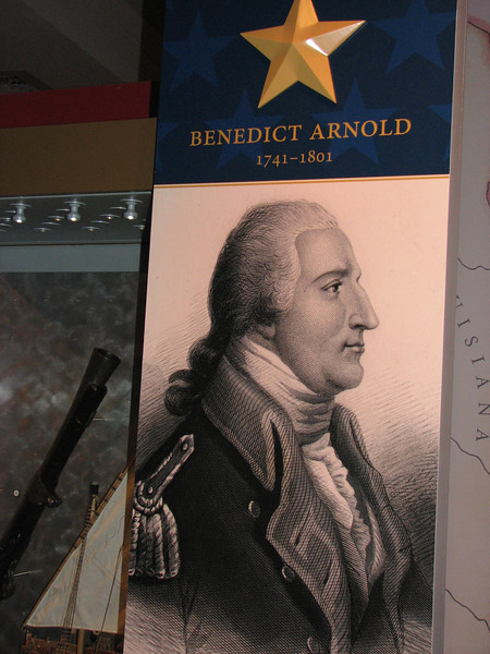 Throughout the museum, signs like this introduce outstanding figures in US Naval history. This is Arnold's, placed in the section on the Revolutionary War.