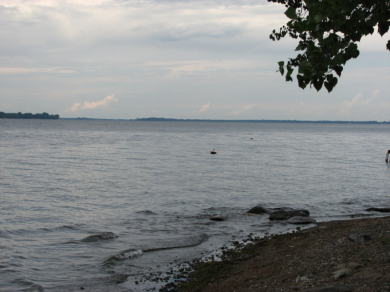 This photo looks north from Isle la Motte towards Windmill Point. It is taken from the park across the street from St. Anne's Shrine.