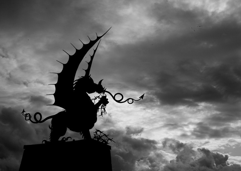 The Welsh Dragon tears up barbed wire at Mametz, Somme, France.  4000 Welsh were killed or wounded taking the woods there from the Germans in July 1917