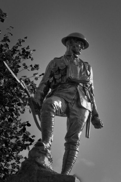 Flers, The Somme. Memorial to the British Soldier. A replica of the statue at Hyde Park Corner, London.