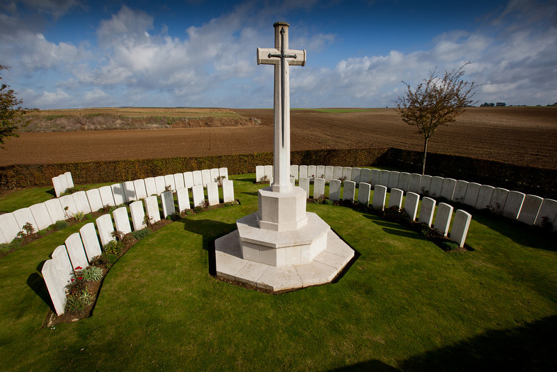 Made by men of the 2nd Gordon Highlanders who buried some of their dead of 1 July 1916 in what had been a support trench, together with three artillerymen who died on 9 July.  As the precise location of most of the graves could not be established, 93 of the headstones are arranged in semi-circles around the central cross.