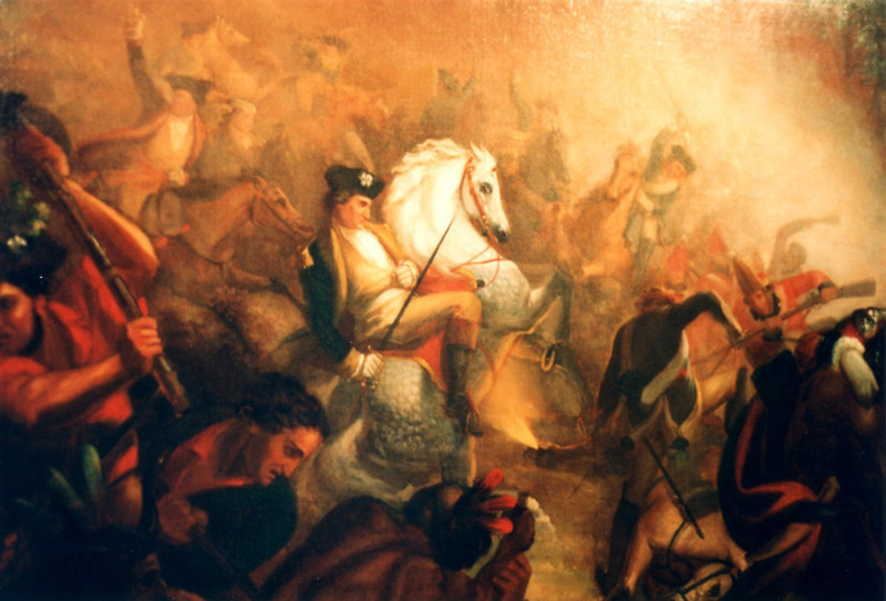 This painting, attributed to John Trumbull, depicts the moment of Arnold's wounding in the fight at Breymann's Redoubt. It is on display in the museum at Fort Ticonderoga.