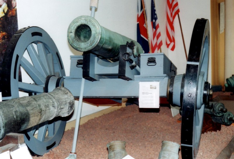 24-pound cannon surrendered by Burgoyne at Saratoga. This gun is at Watervliet Arsenal Museum.