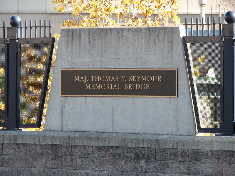 Plaque on the east side of the bridge
