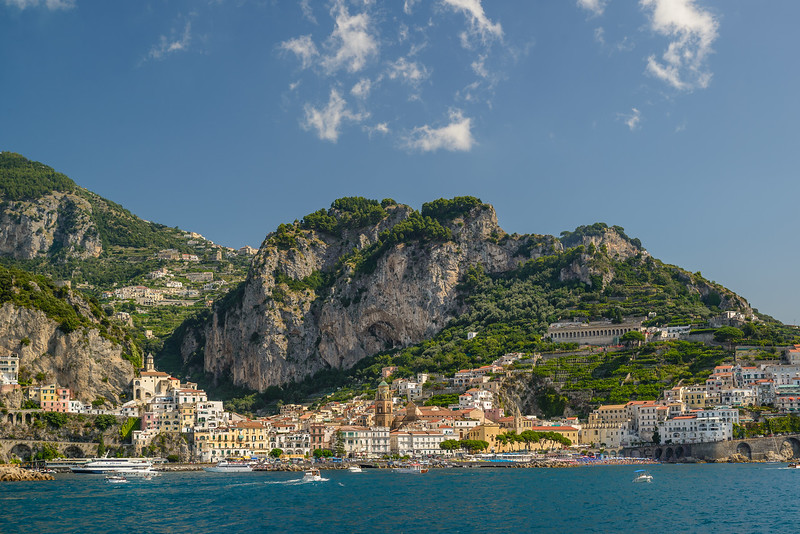 The town of Amalfi from the ferry.