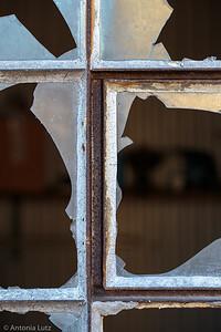 Fenster einer Baubaracke
