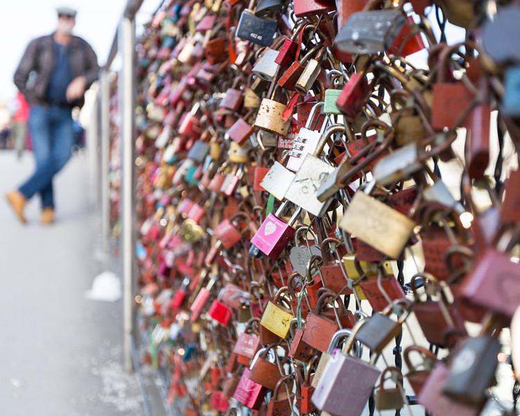 Love Locks bridge over the Salzach River