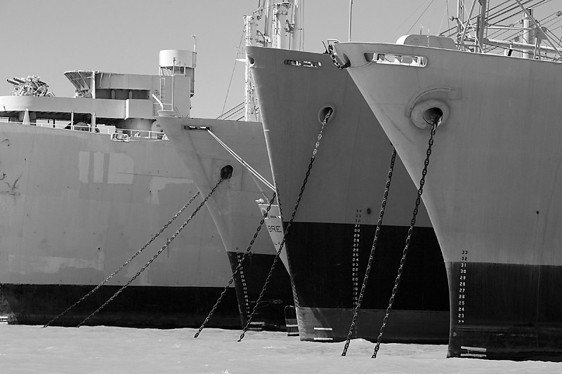 Anchors Aweigh<br /> <br /> Decommissioned Naval ships moored in Suisun bay waiting for eventual<br /> recycling.