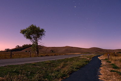 Patterson Ranch Road, Coyote Hills, Fremont, CA  Shot at ~8:45PM.  Lit only by moonlight and urban lights behind the hills.