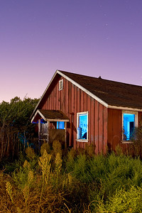 Abandoned Farm House, Fremont, CA  Front lit by moonlight supplemented with spot light pointed to the ground to cast a wider light.  Multiple pops of the strobe with blue gel to light the interior.