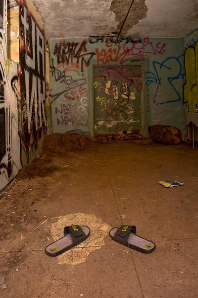 Graffiti filled room.