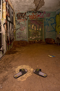Graffiti filled room.