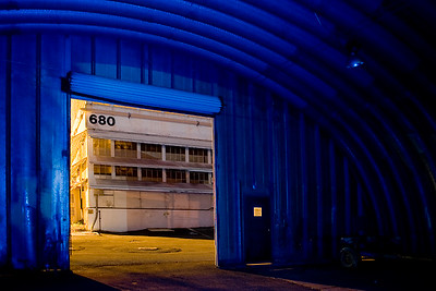 Building 680 and Quonset Hut   Used a blue gel'd strobe to light the interior of the quonset hut.