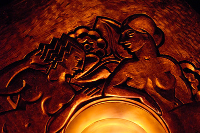 Bas-relief ceiling and light fixture