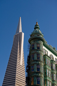 At the confluence of Chinatown, North Beach and the Financial District,  the old (Columbus Tower) and the modern (Transamerica Building) juxtapose.