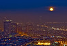 SF Moonrise<br /> <br /> View from Corona Heights, next to the Randall Museum.<br /> Full moon rising above the fog layer.