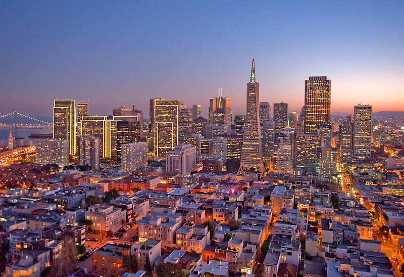 City Lights<br /> <br /> Financial District from the top of Coit Tower on Telegraph Hill.