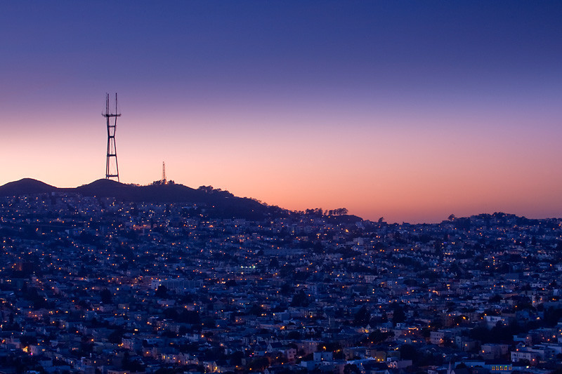 Shadow of Sutro Tower<br /> <br /> Noe Valley and Twin Peaks, San Francisco, CA