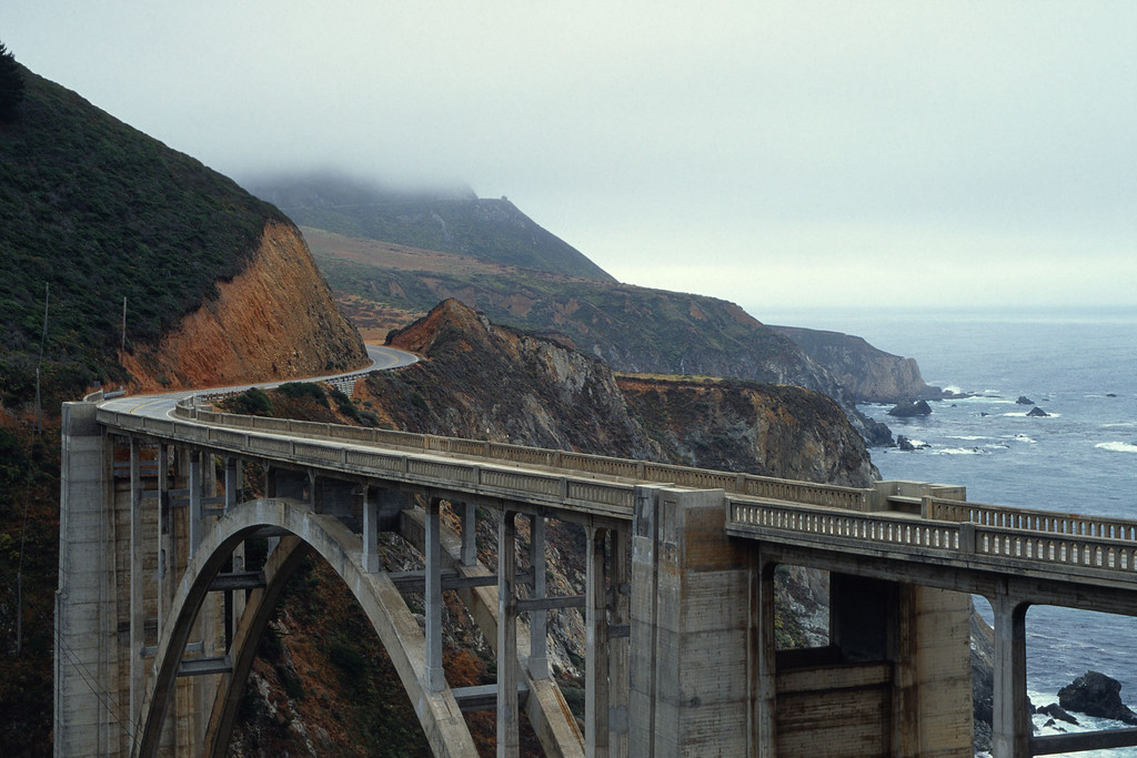 Fog over Bixby Creek Bridge Highway 1 California