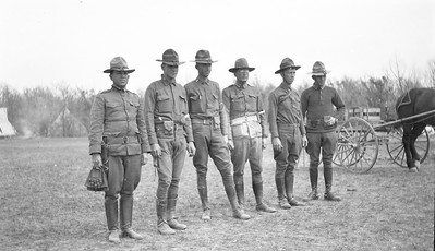 Before or During WWI, L to R: unknown, unknown, unknown, unknown, Vance C. Porter, unknown.