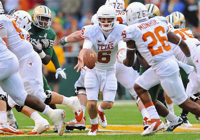 03 Dec 2011:   Texas Longhorns quarterback Case McCoy (6) pitches the ball to the running back during the game between the Texas Longhorns and the Baylor Bears at Floyd Casey Stadium in Waco Texas. Baylor wins 48-24 Manny Flores/CSM(Credit Image: © Manny Flores/Cal Sport Media/ZUMAPRESS.com)