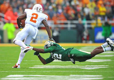 03 Dec 2011:   Texas Longhorns running back Foswhitt Whittaker (2) runs up against Baylor Bears cornerback Joe Williams (22) during the game between the Texas Longhorns and the Baylor Bears at Floyd Casey Stadium in Waco Texas. Baylor wins 48-24 Manny Flores/CSM(Credit Image: © Manny Flores/Cal Sport Media/ZUMAPRESS.com)