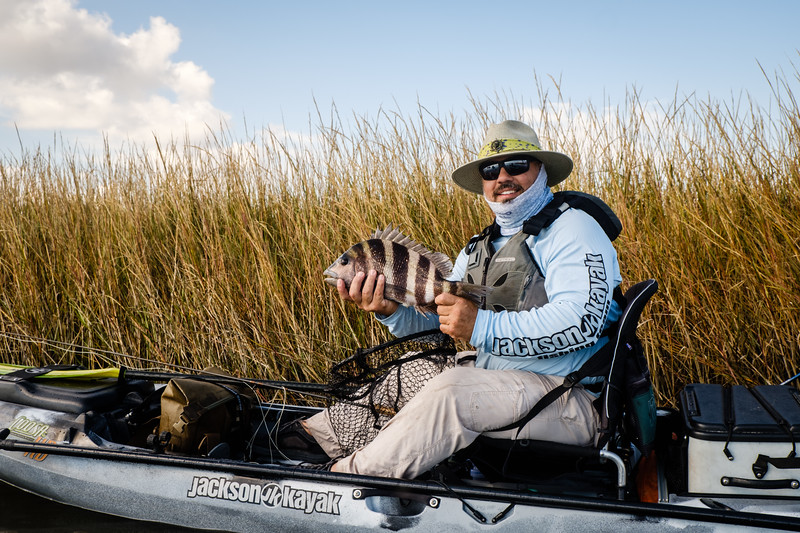 Jackson Team Member Chris Funk with a nice Sheepshead on the fly in his Coosa FD.   Point-Aux-Chenes, Louisiana