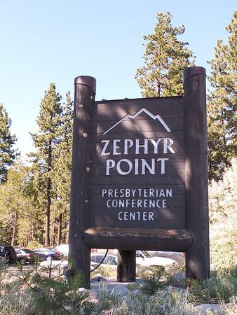 Entrance sign at retreat center