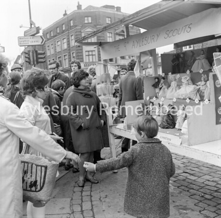 9th Aylesbury Scouts stall in Market Square, Oct 1970