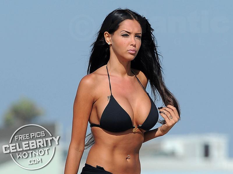 Nabilla Benattia Shows Off Her Curves And Tattoos Curves In Black Bikini, Santa Monica