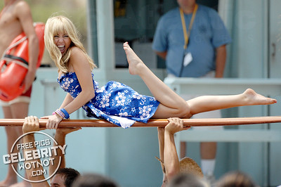 Surf's Up For A Blonde Miley Cyrus As She Filmed Hannah Montana!