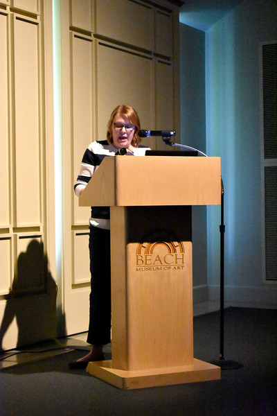 "Lara Kuykendall, associate professor at Ball State University, presented ""Heroes for Hard Times: American Art during the 1930s and 1940s"" Thursday evening at the Marianna Kistler Museum of Art. Kuykendall focused on artist portrayals of heroes such as veterans and African-American folk hero John Henry. (Bailey Britton 