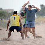 Denia Rugby Club's beach rugby practice on Punta del Raset beach in Denia, Spain.