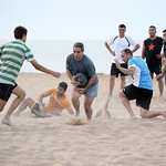 Denia Rugby Club's beach rugby practice on Punta del Raset beach in Denia, Spain.