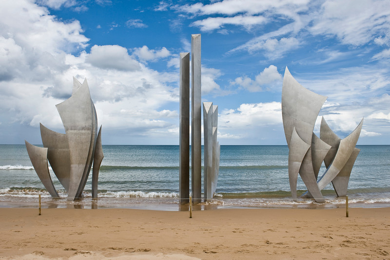"""THE BRAVE"" WWII Monument at Omaha Beach, Normandy France."