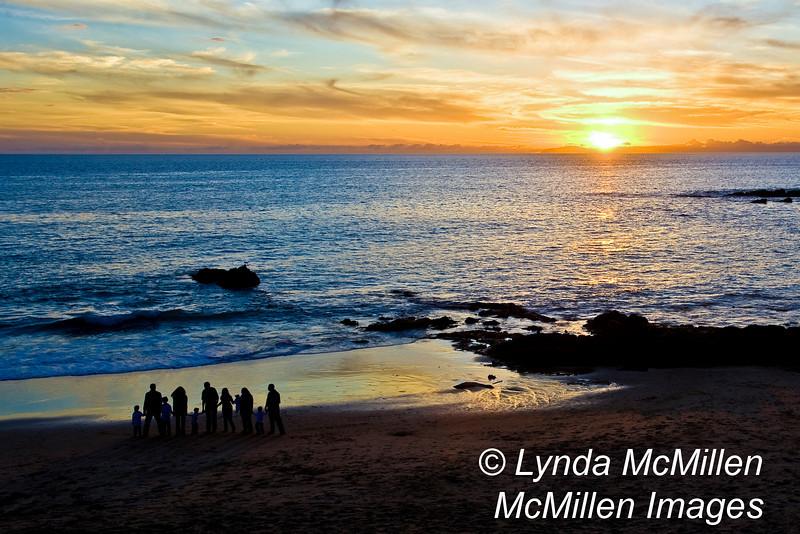 Family Celebrating Sunset (landscape)