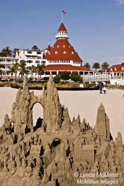 Hotel Del Sand Castle in front of Hotel Del Coronado, San Diego, CA.