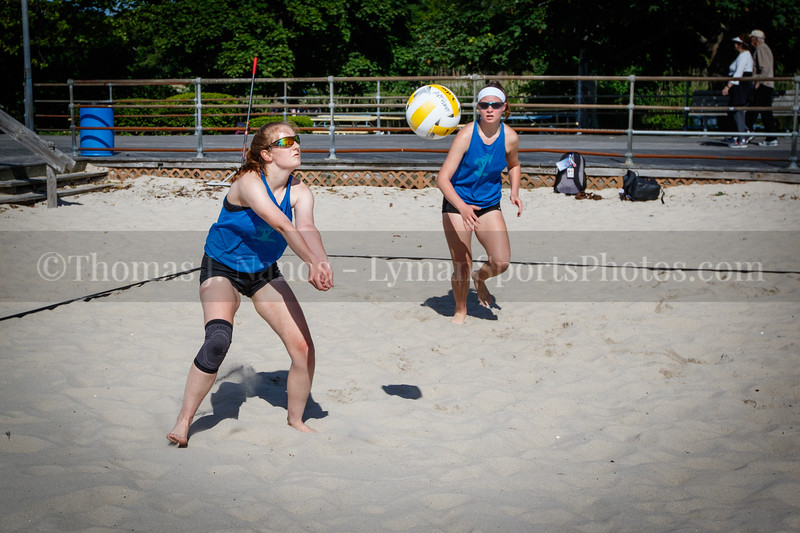 Katina and Kate in the 2019 AVPFirst New England Zonal Beach Volleyball Tournament - Day 1 (Pool Play).  Ocean Beach Park, New London, Connecticut.