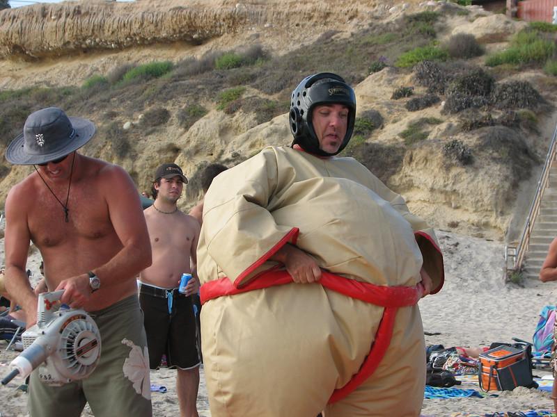 San Diego, California, July 28, 2007. Inflatable sumo breaks out again on the sands of Pacific Beach north of Laws.