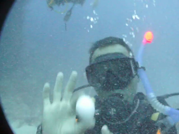 "Bogdan showing the effect that 100 feet depth has on an egg.<br />  <a href=""http://www.duppywaters.com"">http://www.duppywaters.com</a><br />  <a href=""http://www.facebook.com/UtopiaScubaDive"">http://www.facebook.com/UtopiaScubaDive</a>"