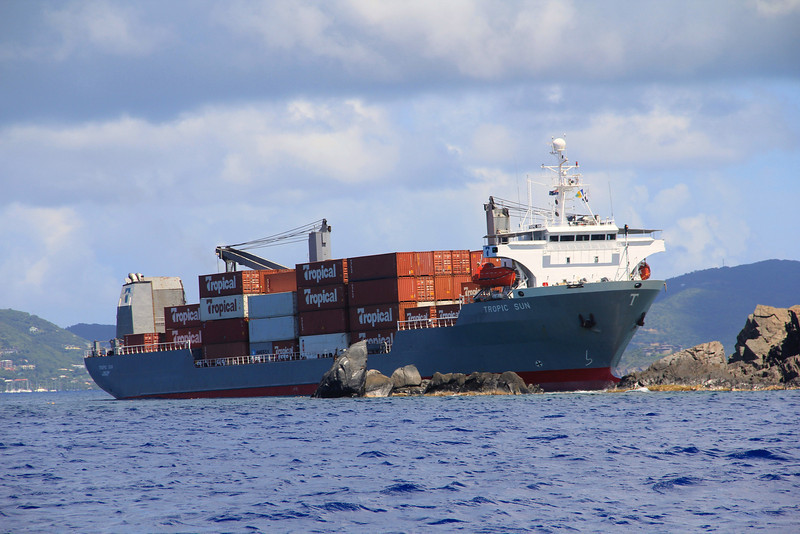 Wreck over the Wreck of the Rhone. Cargo ship runs aground right above the Wreck of the Rhone. BVI