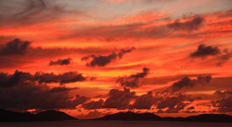 Sunset View from The Mineshaft Restaurant, Virgin Gorda, BVI