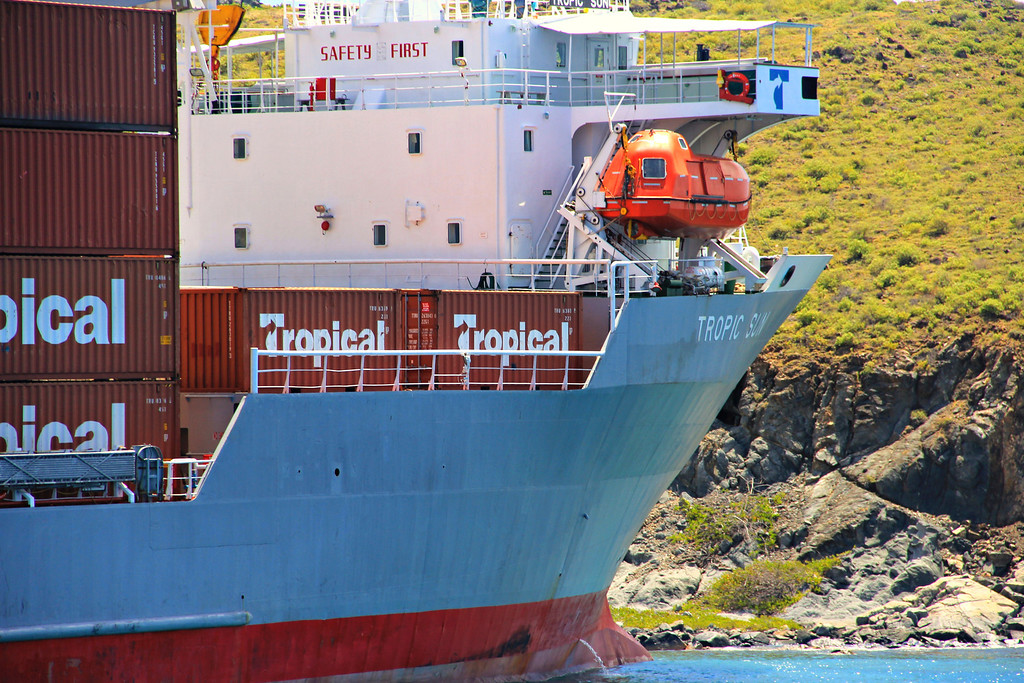 """""""Safety First"""" Cargo ship runs into an island in the BVI's. Right over the Wreck of the Rhone."""