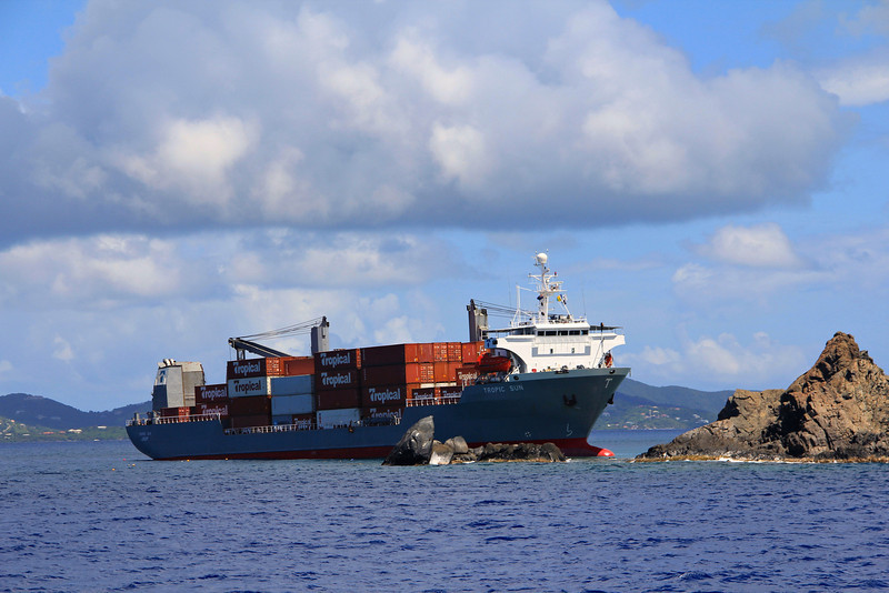 Wreck over the Wreck of the Rhone. Cargo ship runs aground right above the Wreck of the Rhone. BVI.