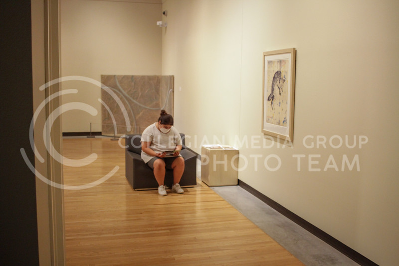 A visitor views art in one of the rooms of the museum. The Marianna Kistler Beach Museum of Art reopened to the public on August 24 after being closed due to the pandemic. (Sophie Osborn   The Collegian Media Group)