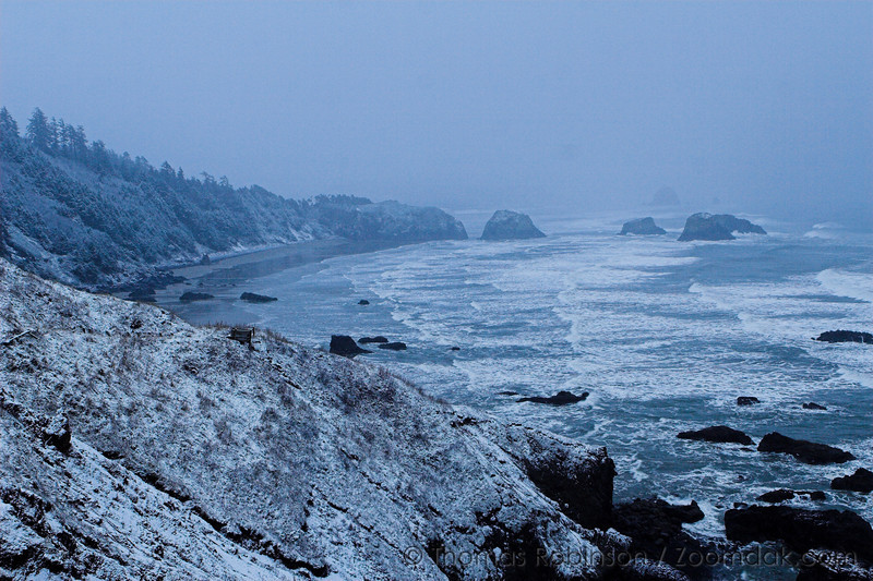 Ecola Point in Snow