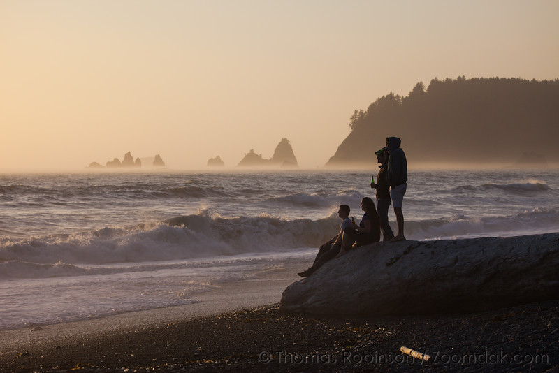 Group of Friends Relaxed Rialto Beach Sunset