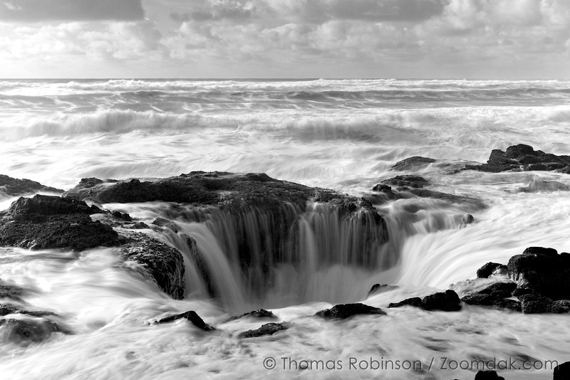 Thor's Well in Black and White - Cape Perpetua, Oregon Coast