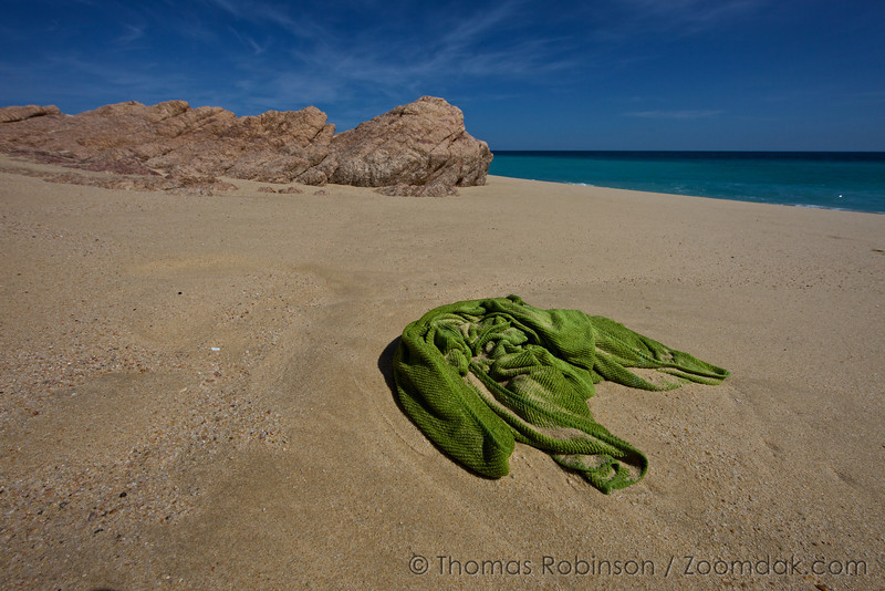 A green blanket washed up along the coast in Baja, Mexico.